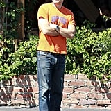 Olivier Martinez waited outside of the Pink Taco restaurant in Hollywood.