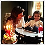 Tiffani Thiessen got a lil help blowing out the candles on her birthday cake this week. Source: Instagram user tathiessen