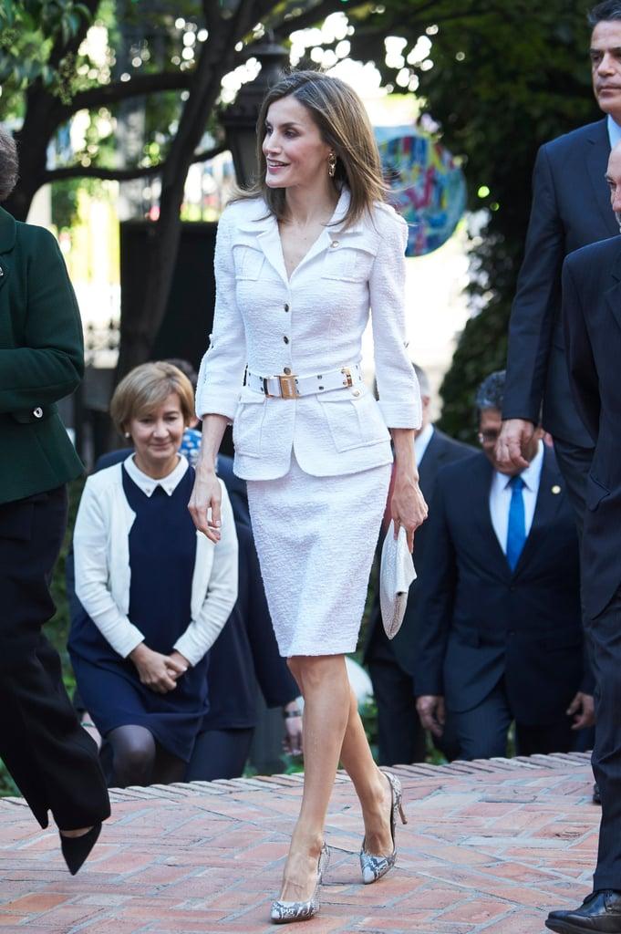 Queen Letizia's Felipe Varela White Suit October 2016