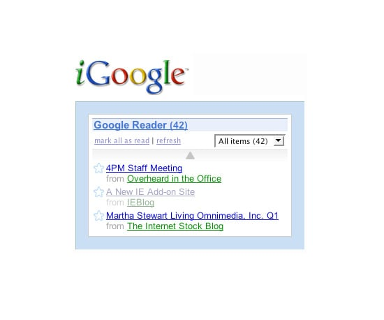 You Can Add Google Reader to Your iGoogle Page