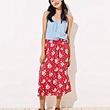 Loft Floral Smocked Maxi Skirt