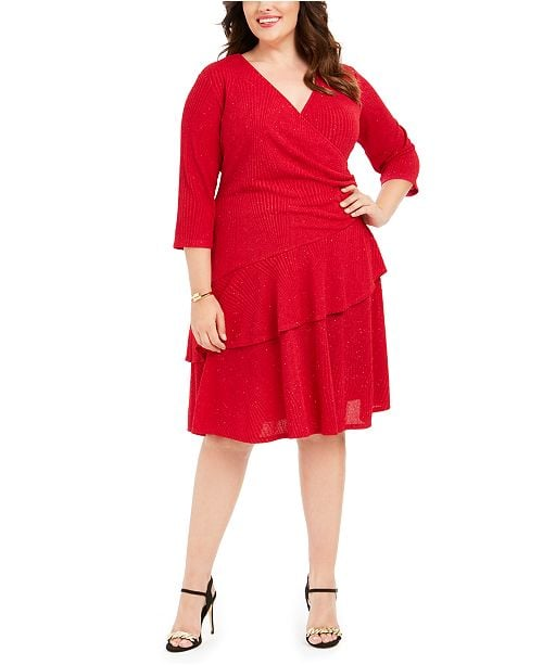 Robbie Bee Surplice Glitter Sweater Dress
