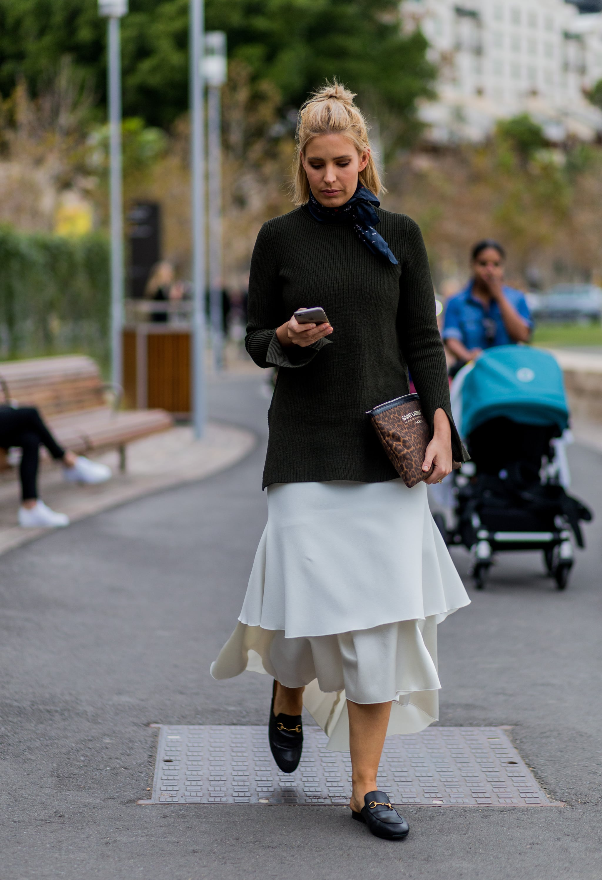 And Incredibly Stylish With a Midi Dress and Black Sweater