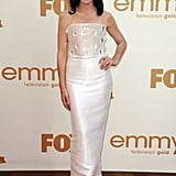 Best actress in a drama nominee and The Good Wife star Julianna Margulies arrived in white.