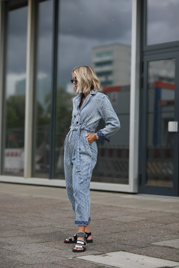 Try a Denim Utility Jumpsuit With Edgy Velcro Sandals