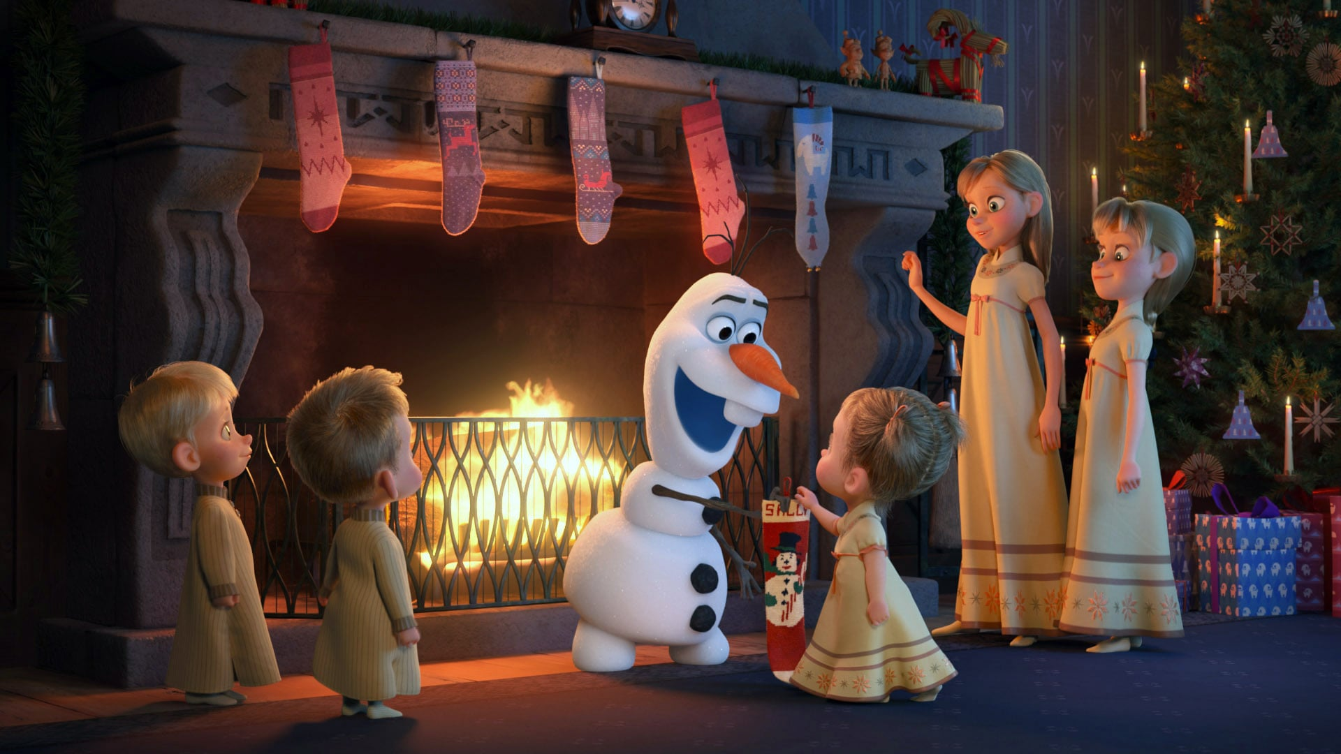 OLAF'S FROZEN ADVENTURE, Olaf (centre, voice: Josh Gad), 2017.  Walt Disney Studios Motion Pictures/courtesy Everett Collection
