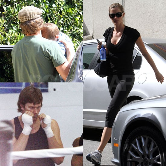 Photos of Tom Brady Boxing, Carrying Jack and Gisele Working Out in LA