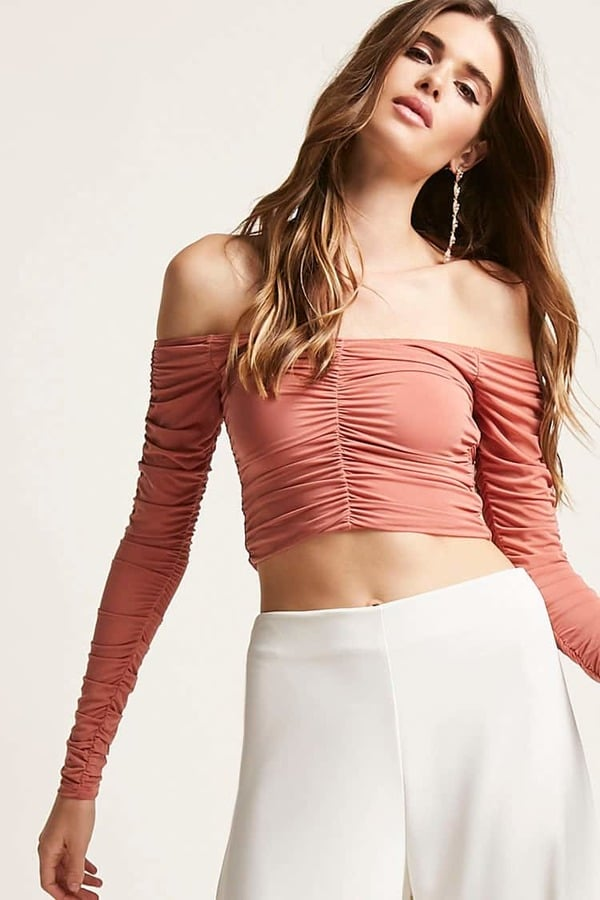 6164dd7e1e44c Forever 21 Ruched Off-the-Shoulder Crop Top