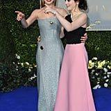 Lily James and Sophie McShera (who star together in both Cinderella and Downton Abbey) palled up on the Cinderella red carpet on Thursday night.