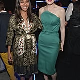 Zoe Saldana showed off her bump alongside Michelle Dockery at an Emmys party in LA on Thursday night.