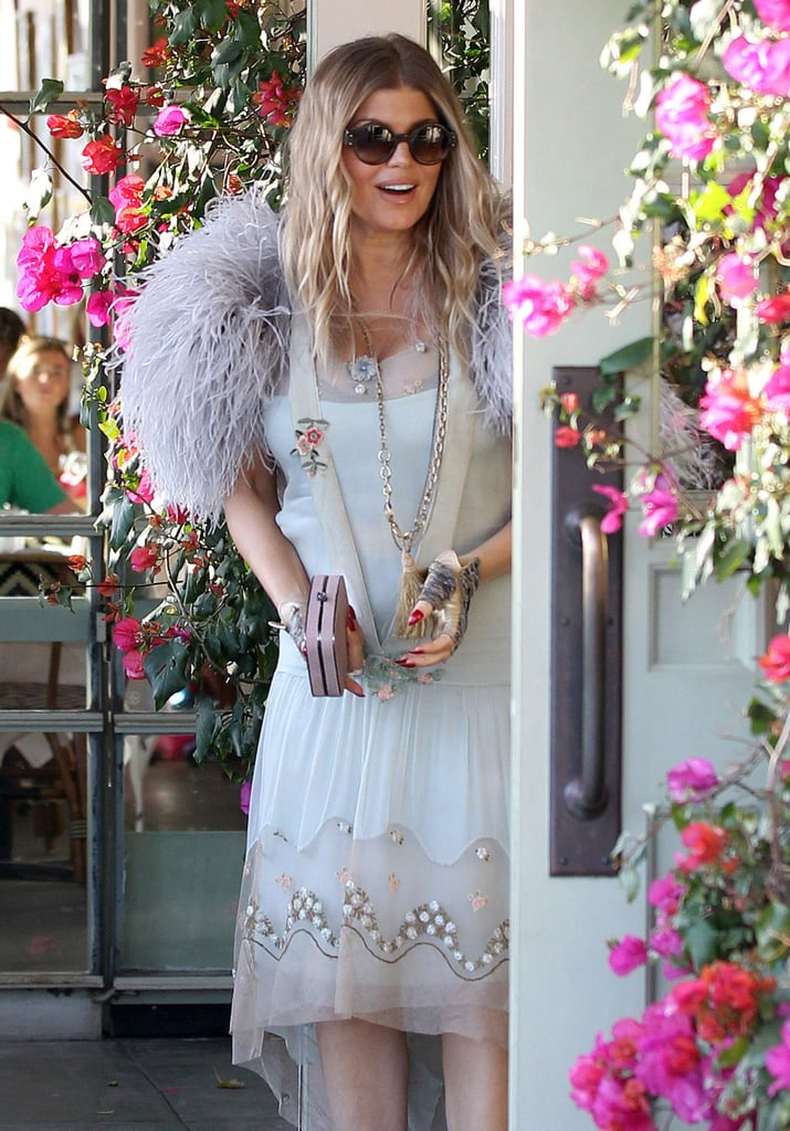 Fergie Celebrates in Feathers at Her Sister's Bridal Shower