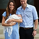 """Because it was the couple's first birth — not to mention that whole """"future king of England"""" thing —Kate and Will took time to speak to the press before putting George in his car seat and heading home.  The Duchess of Cambridge also made headlines for proudly displaying her still-round and totally normal postpartum belly, something that many people still can't seem to get over."""
