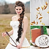 Hunger Games Ideas For Your Wedding, Bachelorette Party, and Bridal Shower Whether you're a bride-to-be, a maid of honor, or just a party planner, we've come up with some creative and fun ways to incorporate The Hunger Games in your wedding celebrations. The book series may be dark, but it is filled with romance. And for hardcore fans of the series, there's always a way to add just a touch of the series and its themes in your big day and especially the parties leading up to it. Be inspired by Katniss, Peeta, mockingjays, and more with these wedding and bridal party ideas. Check out the big day inspiration now, and may the odds be ever in your favor!