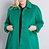 ModCloth Ladylike Lately Collared Coat in Green