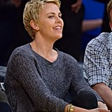 Charlize Theron Takes a Break From the Set to Show Her Lakers Spirit