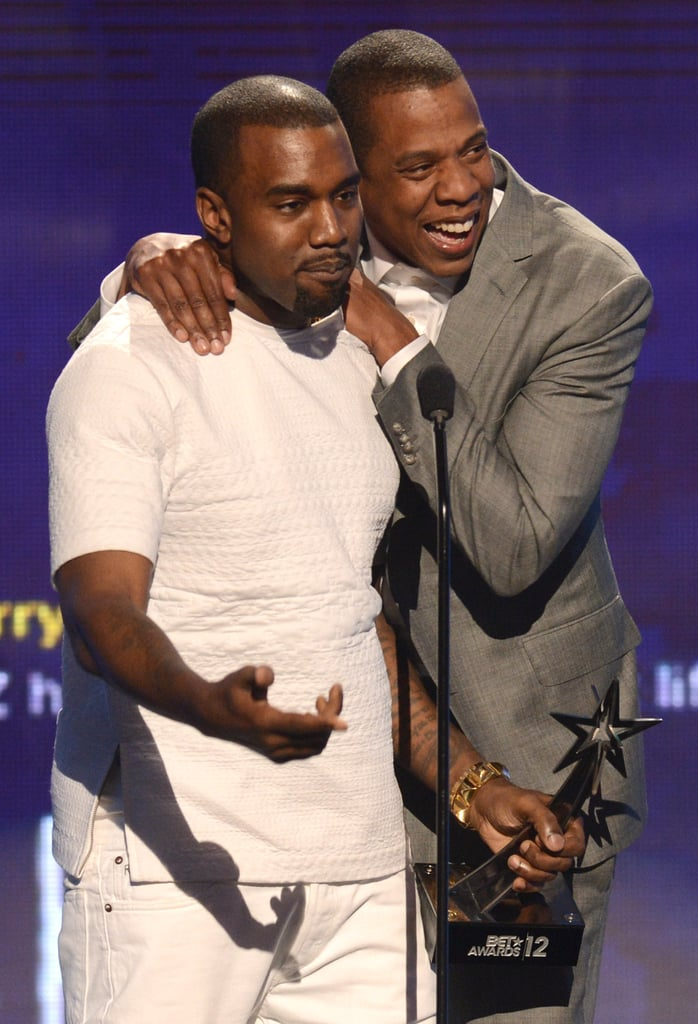 Jay-Z hugged Kanye West at the BET Awards in LA.