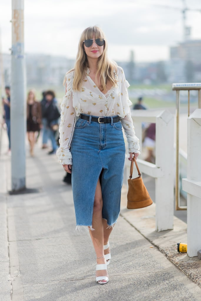 Wear a Sheer Blouse With a Denim Midi Skirt