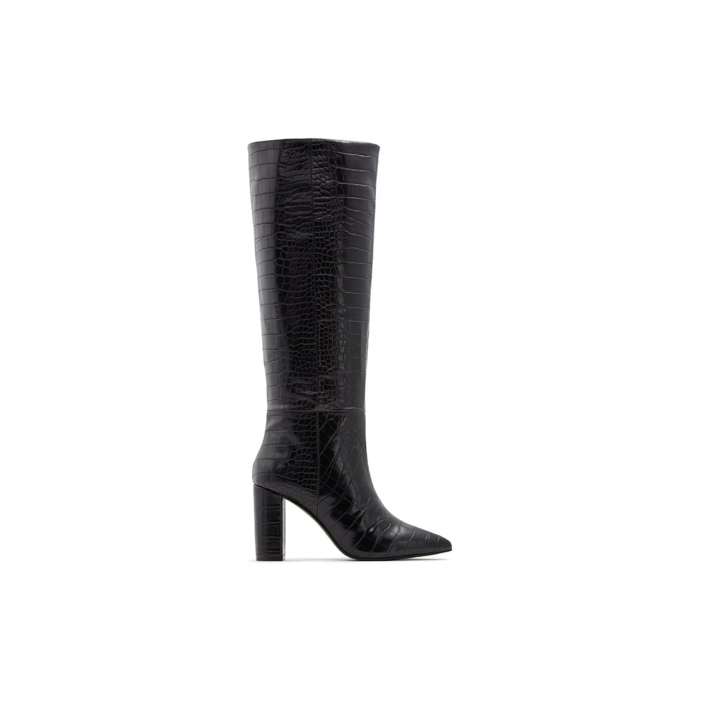 Call It Spring Sila Black Synthetic Croco Boot