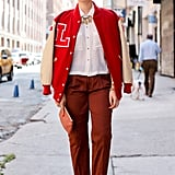 A varsity jacket made this look one of the coolest takes on trousers.