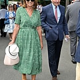 Carole Middleton Wearing a Green Print Scotch and Soda Dress at Wimbledon