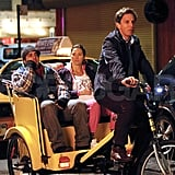 Seth Meyers mans a pedicab for Jessica Biel on the NYC set of What to Expect When You're Expecting.
