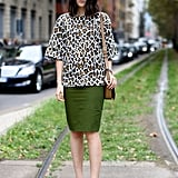 A little leopard was just the right piece to make her neutral skirt pop.