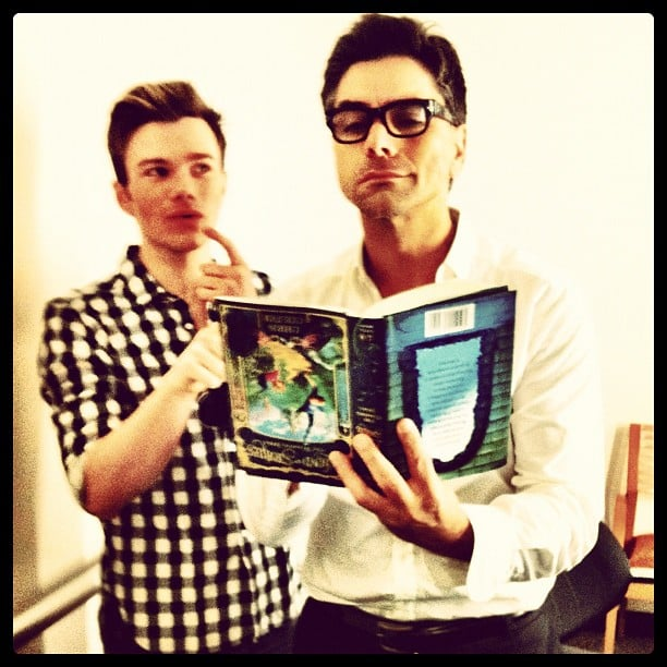 John Stamos dove into Chris Colfer's new book. Source: Instagram user jockostamps