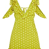 Lime Polka Dot Frill Hem Bodycon Dress ($58)