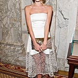 Dree Hemingway's white strapless dress got an interesting touch, thanks to the netted skirt, at the amfAR Gala in NYC.