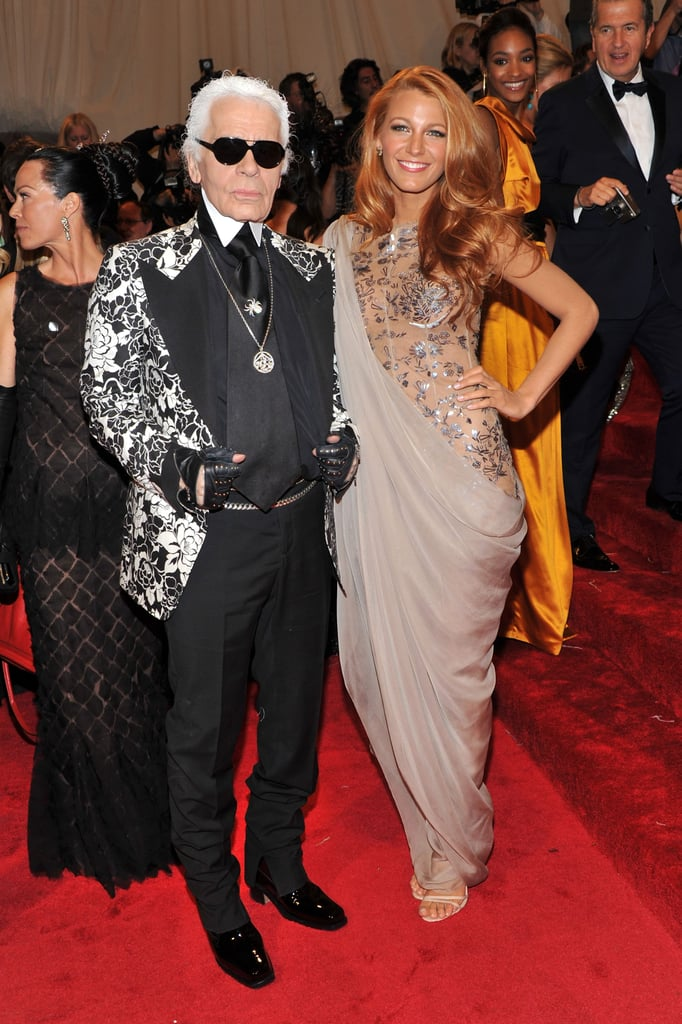 Karl Lagerfeld in Tom Ford and Blake Lively in Chanel