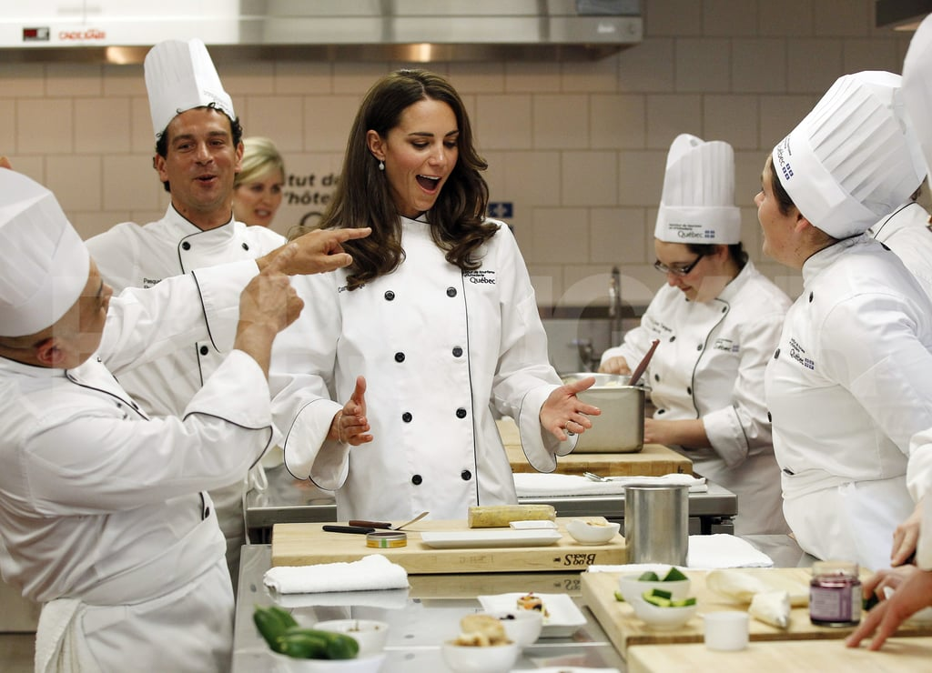 Fashion icon Kate Middleton traded couture for culinary chic Saturday in Montreal. Kate and Prince William enjoyed a cooking workshop at the Institute of Tourism upon arrival in the Canadian city. The Duke and Duchess of Cambridge looked like they were having a blast during the demonstration, which came at the end of another very full day in Canada. Prince William and Kate participated in Canada Day celebrations on Friday night and were up bright and early yesterday to plant a symbolic tree of love in Ottawa before bidding farewell to the first stop on their North America tour. Today William and Kate are scheduled to meet with the Royal 22nd Regiment, who recently returned from a tour in Afghanistan, and then the royal newlyweds are off for a brief trip to Prince Edward Island on July 4.