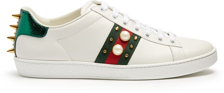 Gucci New Ace Stud-Embellished Leather Trainers