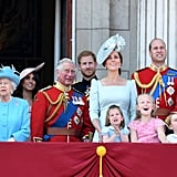 Meghan stood behind higher ranking members of the royal family during her first Trooping the Colour.