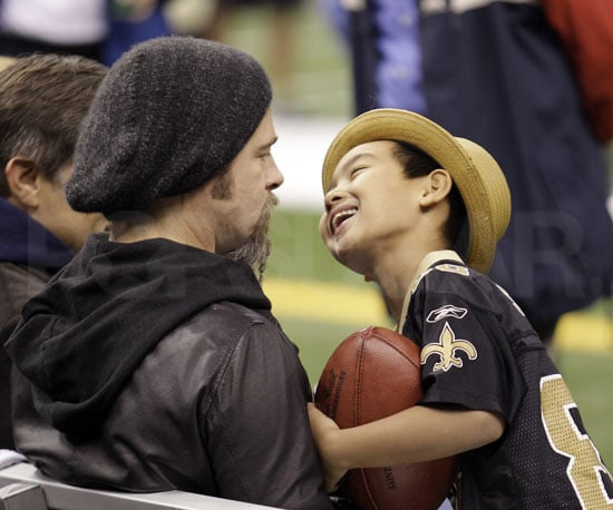 Slide Photo of Brad Pitt and Maddox at New Orleans Saints Game