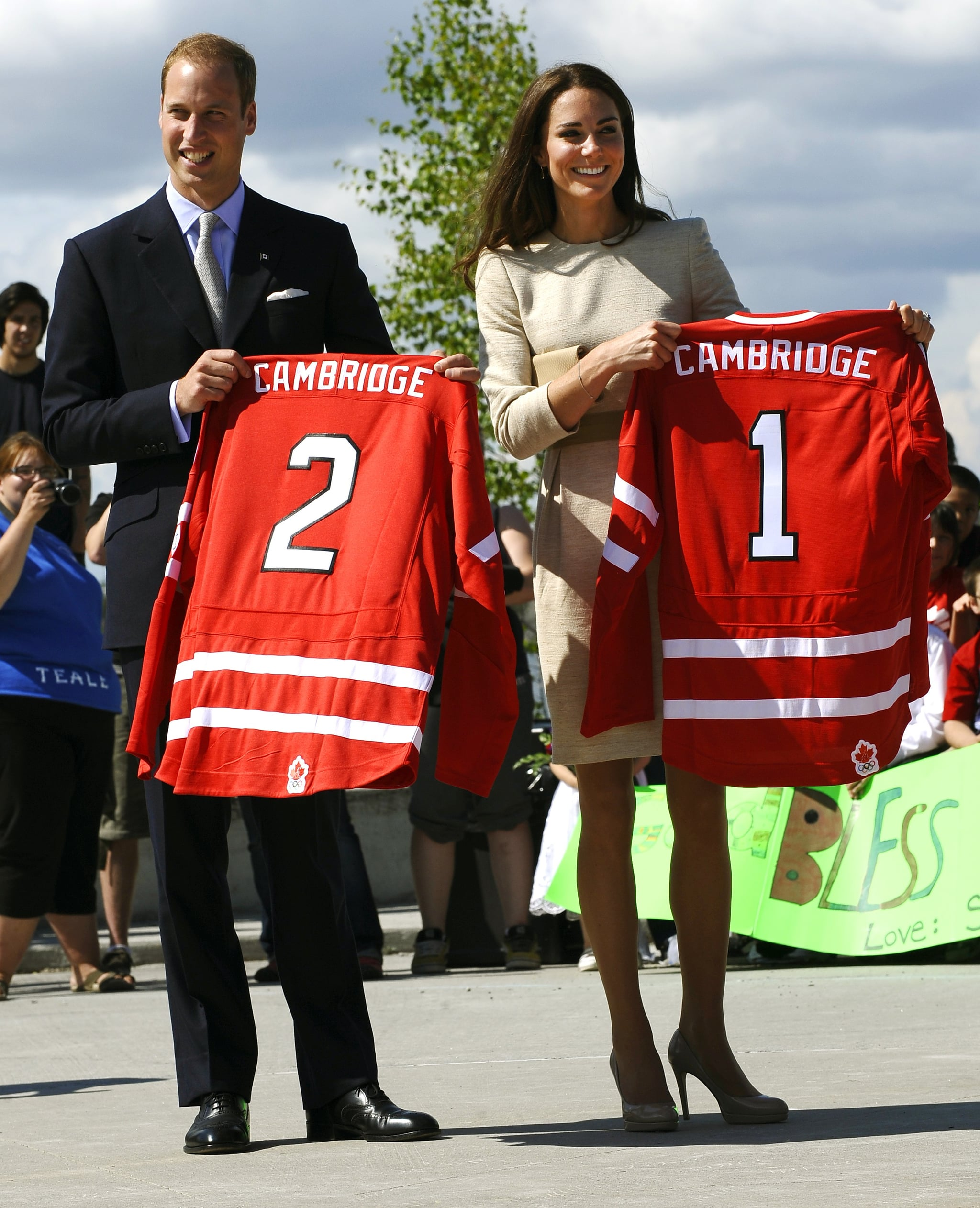 Kate Middleton and Prince William showed off their namesake jerseys.