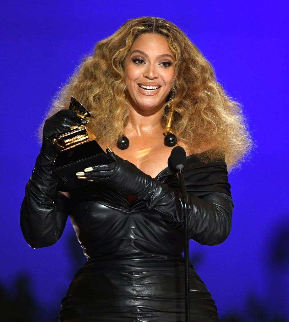 Beyoncé's Gold Manicure Over Her Gloves | Grammy Awards 2021