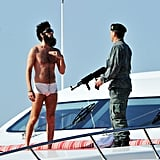Sacha Baron Cohen posed on a luxury yacht for The Dictator at the Cannes Film Festival.