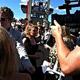 Kylie Minogue greeted fans on the red carpet. Twitter User: nova969