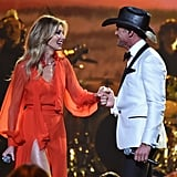 Faith and Tim shared a sweet onstage moment when they performed during the CMA Awards in Nashville in November 2017.