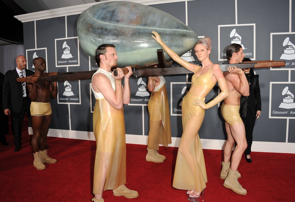Pictures of Lady Gaga in Egg Womb at 2011 Grammy Awards
