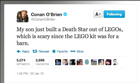 Is funnyman Conan O' Brien's youngster headed to the Dark Side?