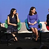 Meghan was clearly amused by William's remarks at the first annual Royal Foundation Forum, which was held in London in February.