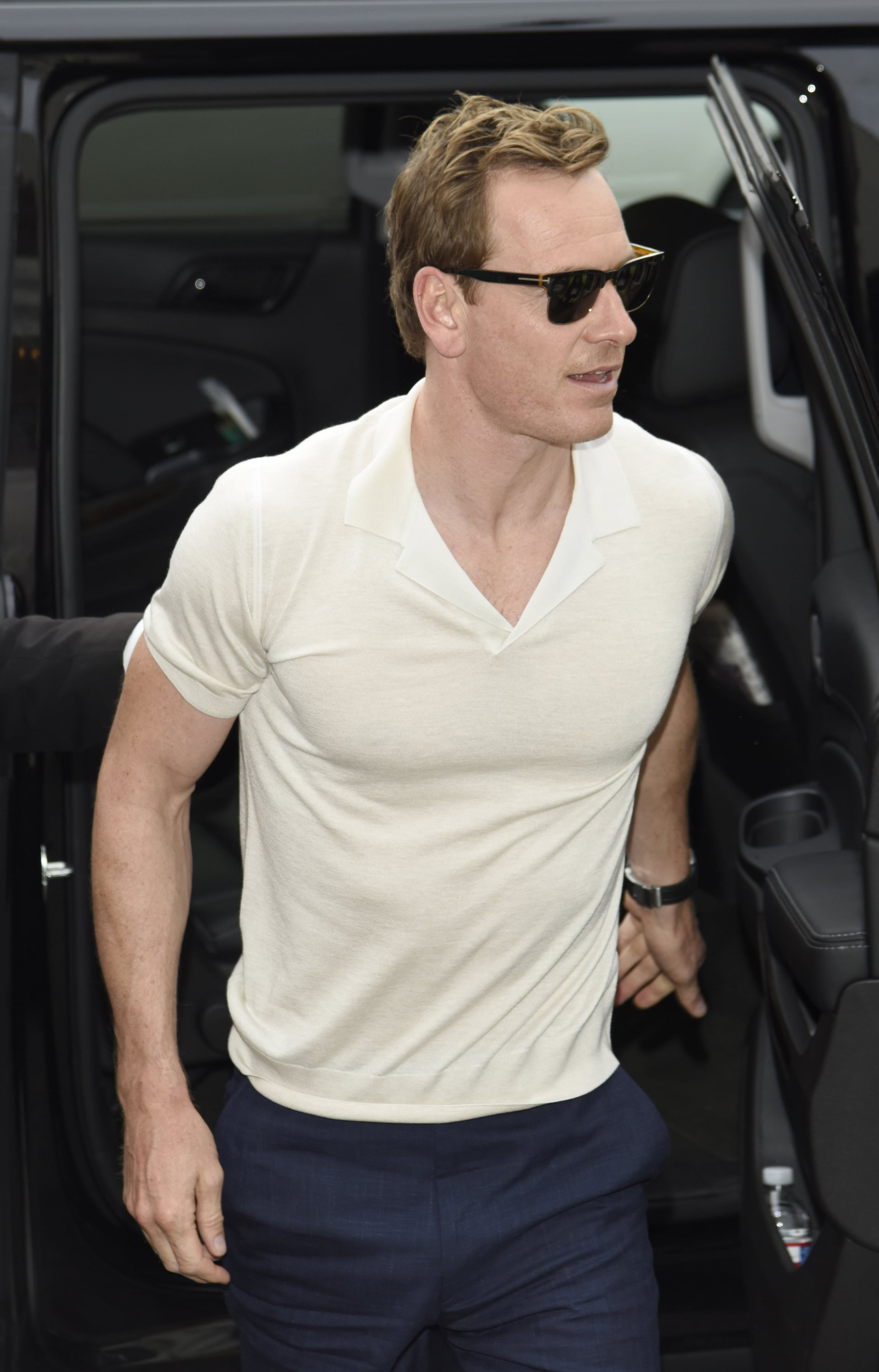It S Just A Lot To Take In Michael Fassbender In A Fitted White Shirt Is All You Need To See Today Popsugar Celebrity Photo 12