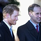 Prince William and Prince Harry stood together before Christmas Day services.