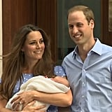 The Duke and Duchess of Cambridge were smiling when they left the hospital in London.