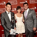 Jeremy Lin, Jessica Biel and Tim Tebow were all smiles backstage of the ESPY Awards.