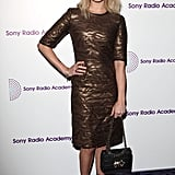 Fearne Cotton glittered in a gold shift dress at the Sony Radio Adacemy Awards in London.