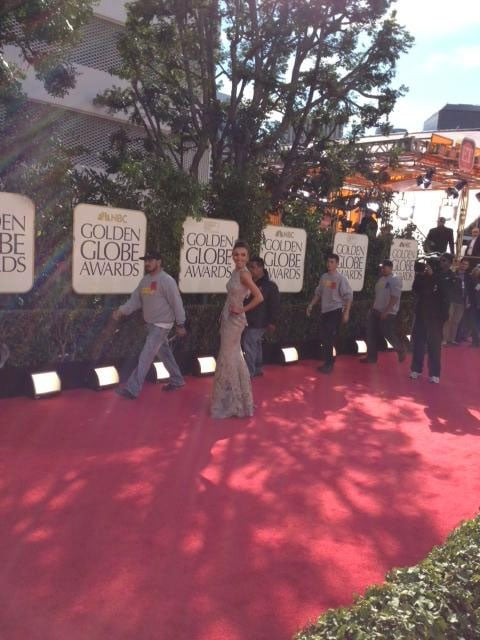 E! News host Guiliana Rancic had the red carpet all to herself ahead of show time. Source: Twitter user NBC