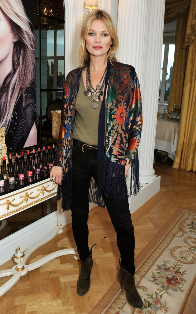 Kate Moss posed at the Rimmel London 180 Years of Cool photocall in London.
