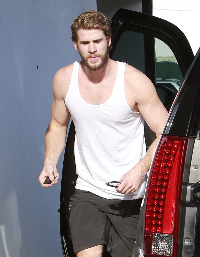 Liam Hemsworth got out of his car on Monday.